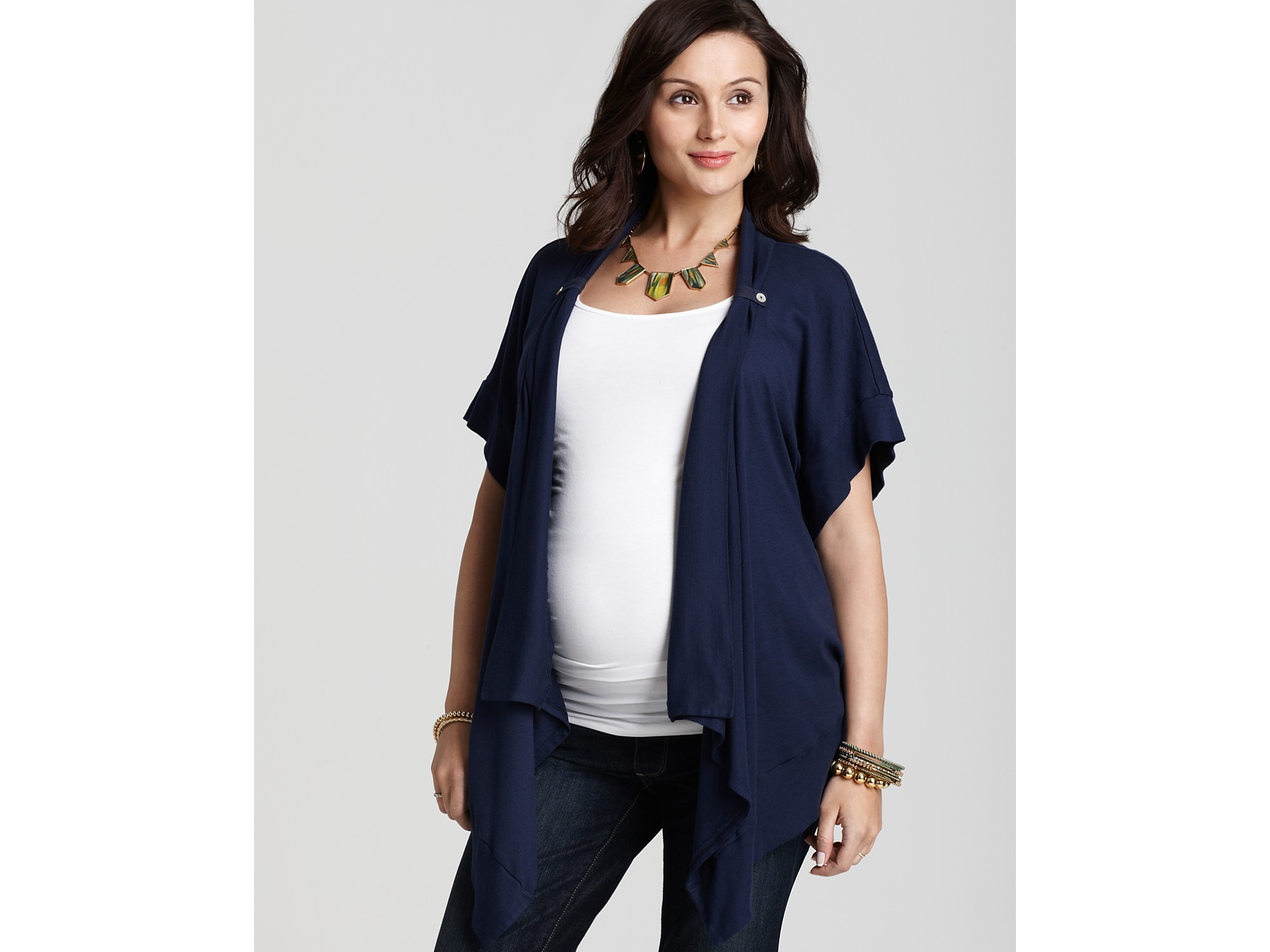 Splendid Maternity 1x1 Short Sleeve Tab Cardigan in Blue | Lyst