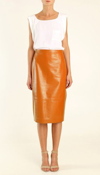 tibi leather skirt in orange lyst