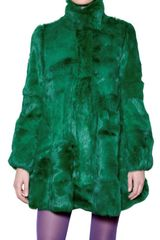 Amaya Arzuaga Rabbit Fur Coat in Green - Lyst