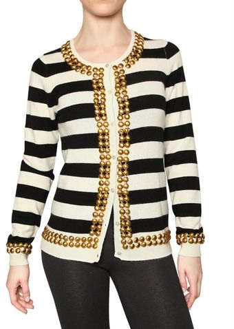 Beayukmui Studded Striped Cashmere Knit Sweater - Lyst