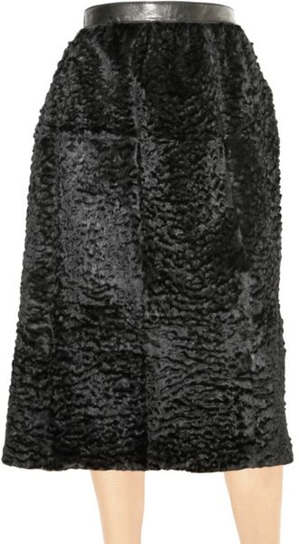 Burberry Prorsum Astrakan Effect Rabbit Fur Skirt - Lyst