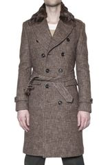 Burberry Prorsum Mink Collar Compact Tweed Trench Coat - Lyst