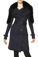 Burberry Prorsum Minkfur Shoulder Technical Viscose Coat - Lyst