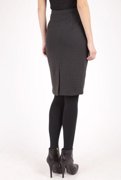 by malene birger grey rotin winter melange pencil skirt in