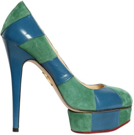 Charlotte Olympia 150mm Suede and Calfskin Striped Pumps in Green