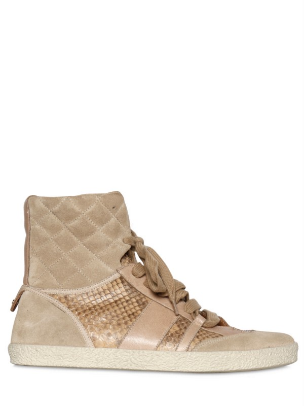 chlo crust leather and ayers high top sneaker in beige lyst. Black Bedroom Furniture Sets. Home Design Ideas
