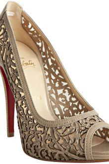 Christian Louboutin Raw Laser Cut Leather Pampas 120 Peep Toe Pumps - Lyst