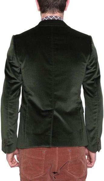 D Amp G Velvet Jacket In Green For Men Lyst