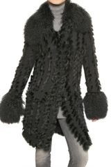 Dolce & Gabbana Mongolia,rabbit Fur and Wool Knit Coat - Lyst