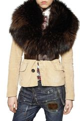 DSquared2 Racoon Collar Corduroy Jacket - Lyst