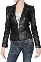 DSquared2 Calfskin Biker Leather Jacket - Lyst