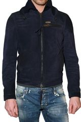 DSquared2 Knit Collar Suede Bomber Leather Jacket - Lyst