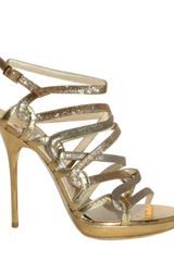 Jimmy Choo 110mm Mirrored Glitter Sandals - Lyst