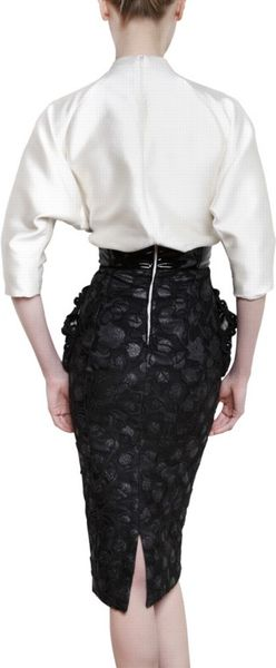Marc Jacobs Satin Top Jaquard Skirt Tulip Dress In Black