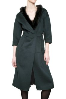 Nina Ricci Fur Collar Double Faced Wool Coat - Lyst