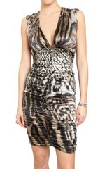Roberto Cavalli Gathered Printed Stretch Satin Dress - Lyst