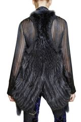 Roberto Cavalli Silk Georgette Raccoon Gilet Fur Coat in Blue (navy) - Lyst