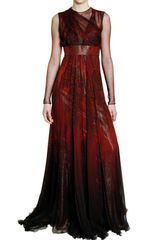 Roberto Cavalli Feather Print Silk Chiffon Dress - Lyst