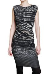 Roberto Cavalli Jewelled Feather Print Lycra Dress - Lyst