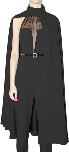 Saint Laurent Envers Satin Cape Coat in Black - Lyst