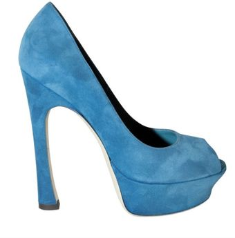 Yves Saint Laurent 140mm Palais Suede Open Toe Pumps - Lyst