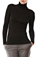 Yves Saint Laurent Wool Rib Turtleneck Sweater in Black (charcoal) - Lyst