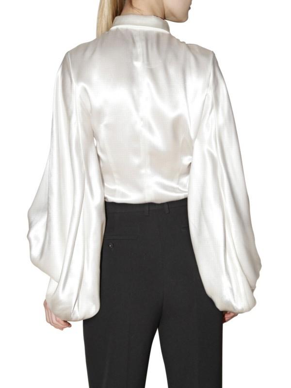 Lyst saint laurent duchess satin blouse in white for Yves saint laurent white t shirt
