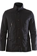 John Varvatos Cotton and Metal Double Collar Jacket - Lyst