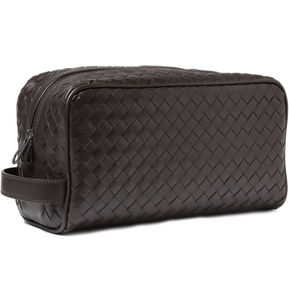 f108606e67 Lyst - Bottega Veneta Intrecciato Leather Wash Bag in Brown for Men