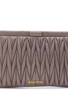 Miu Miu Matelasse Leather Clutch - Lyst