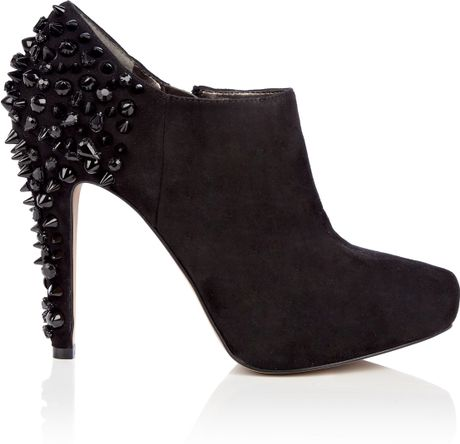 Sam Edelman Black Renzo Studded Suede Ankle Boot in Black - Lyst