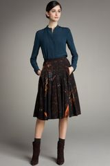 Akris Wedding-print Pleated Skirt - Lyst