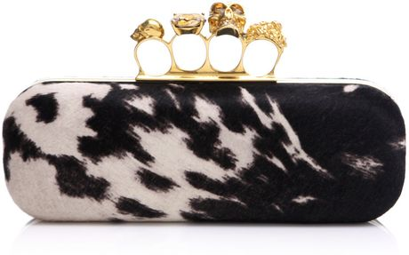 Alexander Mcqueen Peppered Pony Skin Print Clutch in Animal (white) - Lyst