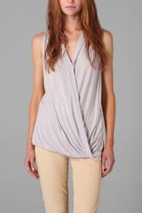Helmut Lang Draped V Neck Top - Lyst