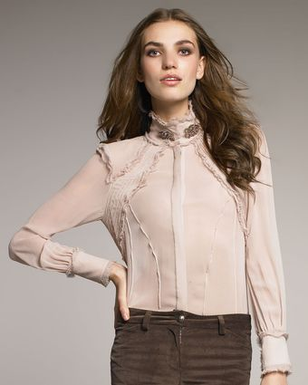 Roberto Cavalli Frayed Turtleneck Blouse - Lyst