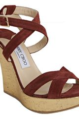 Jimmy Choo Red and Gold Suede Perfect Metallic Cork Wedge Sandals - Lyst