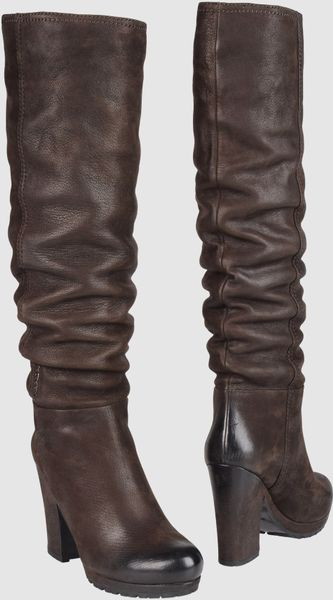 Prada Sport Highheeled Boots in Brown - Lyst