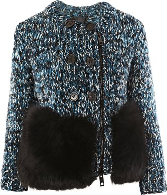 Burberry Prorsum Wool and Fox Fur Cardigan - Lyst