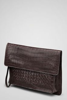 Bottega Veneta Ebano Crocodile Fume Soft Clutch - Lyst