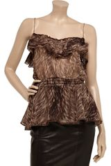 Dolce & Gabbana Printed Silkchiffon Top in Brown - Lyst