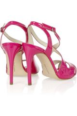 Rupert Sanderson Bounty Patentleather Sandals in Pink - Lyst