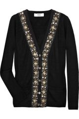 Tibi Embellished Wool-blend Cardigan - Lyst