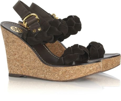Tory Burch Andra Braided Leather Wedge Sandals in Brown - Lyst