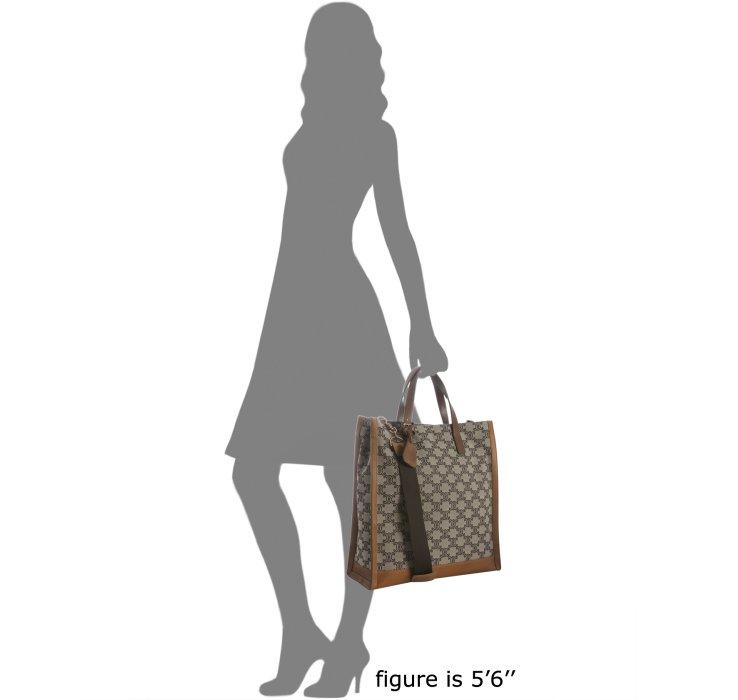 celine micro luggage tote black - C��line Tan Logo Canvas Leather Trim Tote in Brown (tan) | Lyst