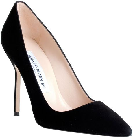Manolo Blahnik Bb Suede Leather Pump in Black - Lyst