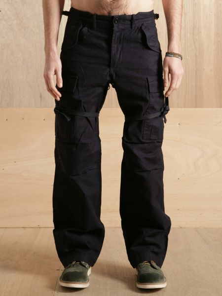 nigel cabourn mens sateen mainline army pant in blue for