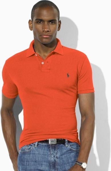 polo ralph lauren slim fit mesh polo in orange for men. Black Bedroom Furniture Sets. Home Design Ideas