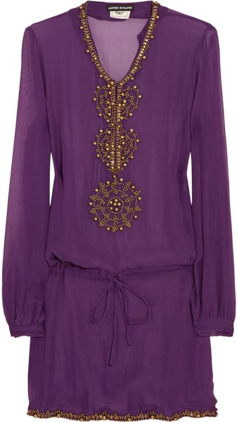 Antik Batik Embellished Silkchiffon Kaftan in Purple - Lyst