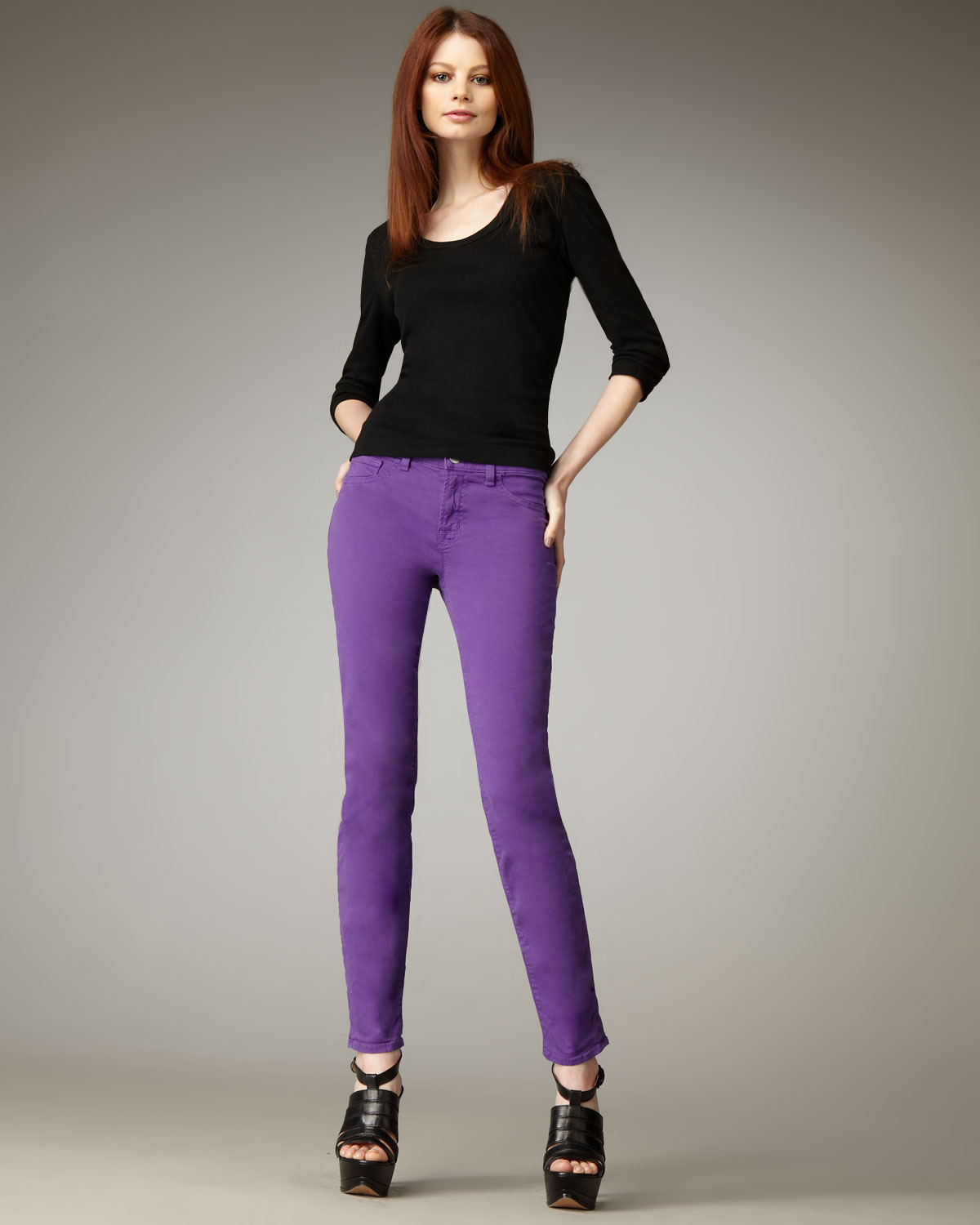J brand 811 Mid-rise Skinny Twill Jeans, Purple in Purple - Save ...