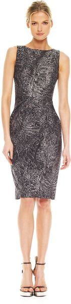 Michael Kors Astrakhan Brocade Sheath Dress in Gray (slate) - Lyst